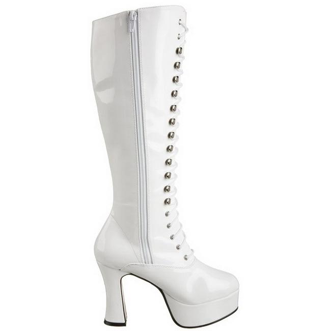 hvit lakk 10,5 cm EXOTICA 2020 høye dame støvler med snøring