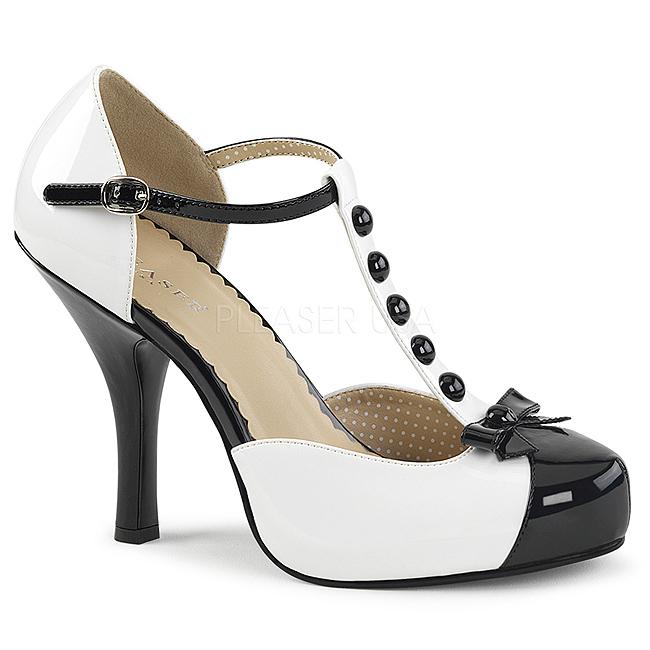 hvit lakklær 11,5 cm PINUP 02 store størrelser pumps sko