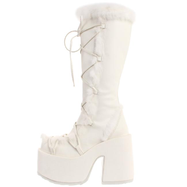 hvit pels 13 cm CAMEL 311 gothic støvler dame platå