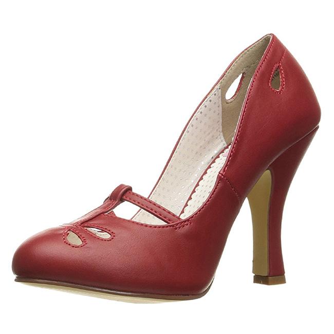 rød 10 cm SMITTEN 20 pinup pumps sko med lave hæler