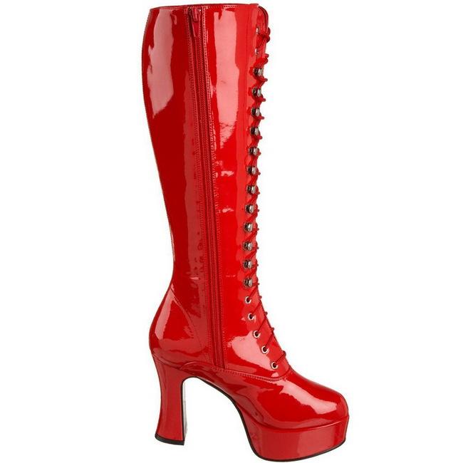 rød lakk 10,5 cm EXOTICA 2020 høye dame støvler med snøring