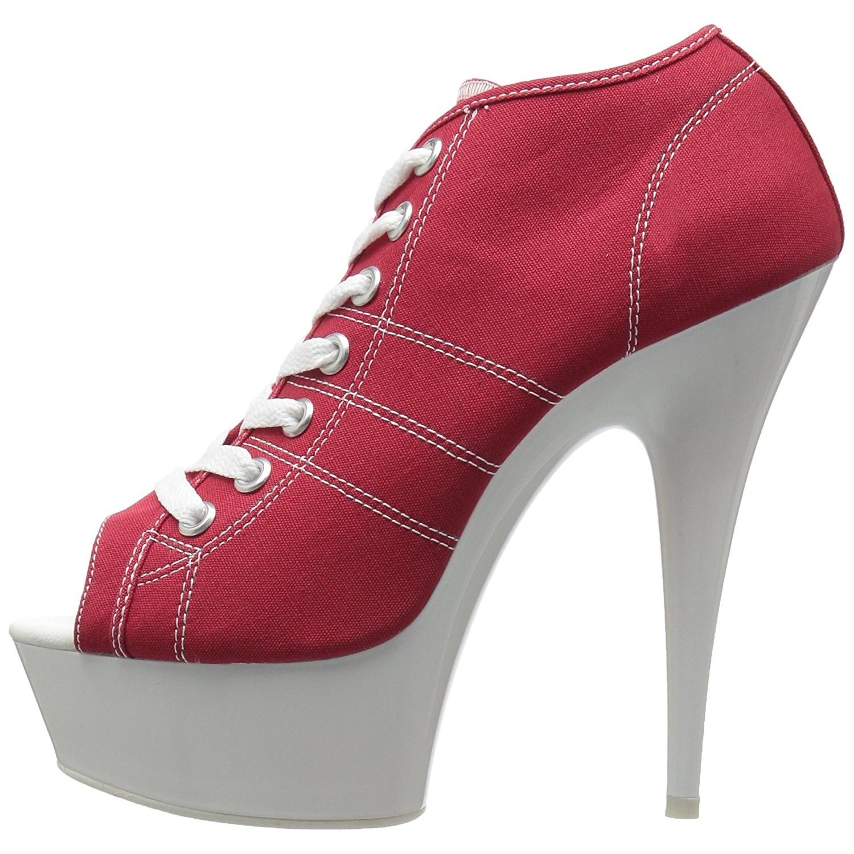 c05f69fe rød neon 15 cm DELIGHT-600SK-01 canvas joggesko med høye hæler