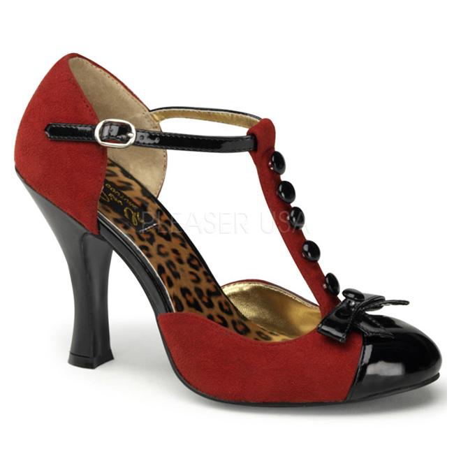 rød semsket 10 cm SMITTEN 10 Rockabilly dame pumps med lave hæl