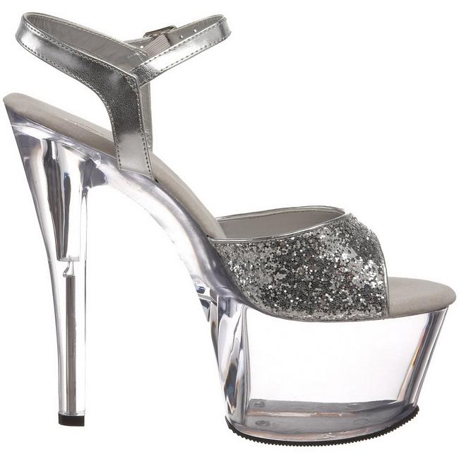 aa834f40 høyhælte høyhælte sandaler SKY glitter platå sølv sko sko cm 18 310 xYtOwf