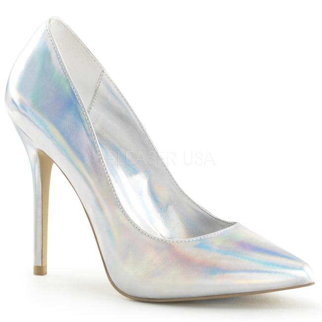 58a96ca0 sølv matt 13 cm AMUSE-20 dame pumps sko stiletthæl