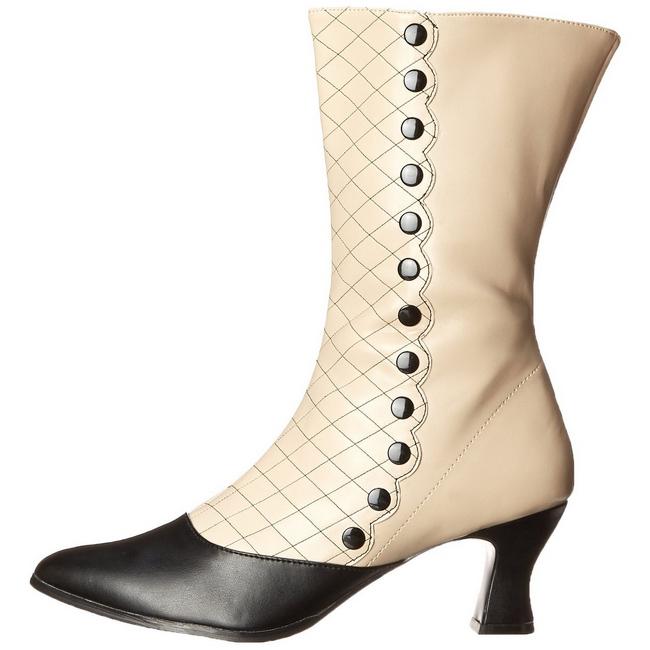 støvler 123 høye svart VICTORIAN ankel beige 7 cm dame DHE92WIY
