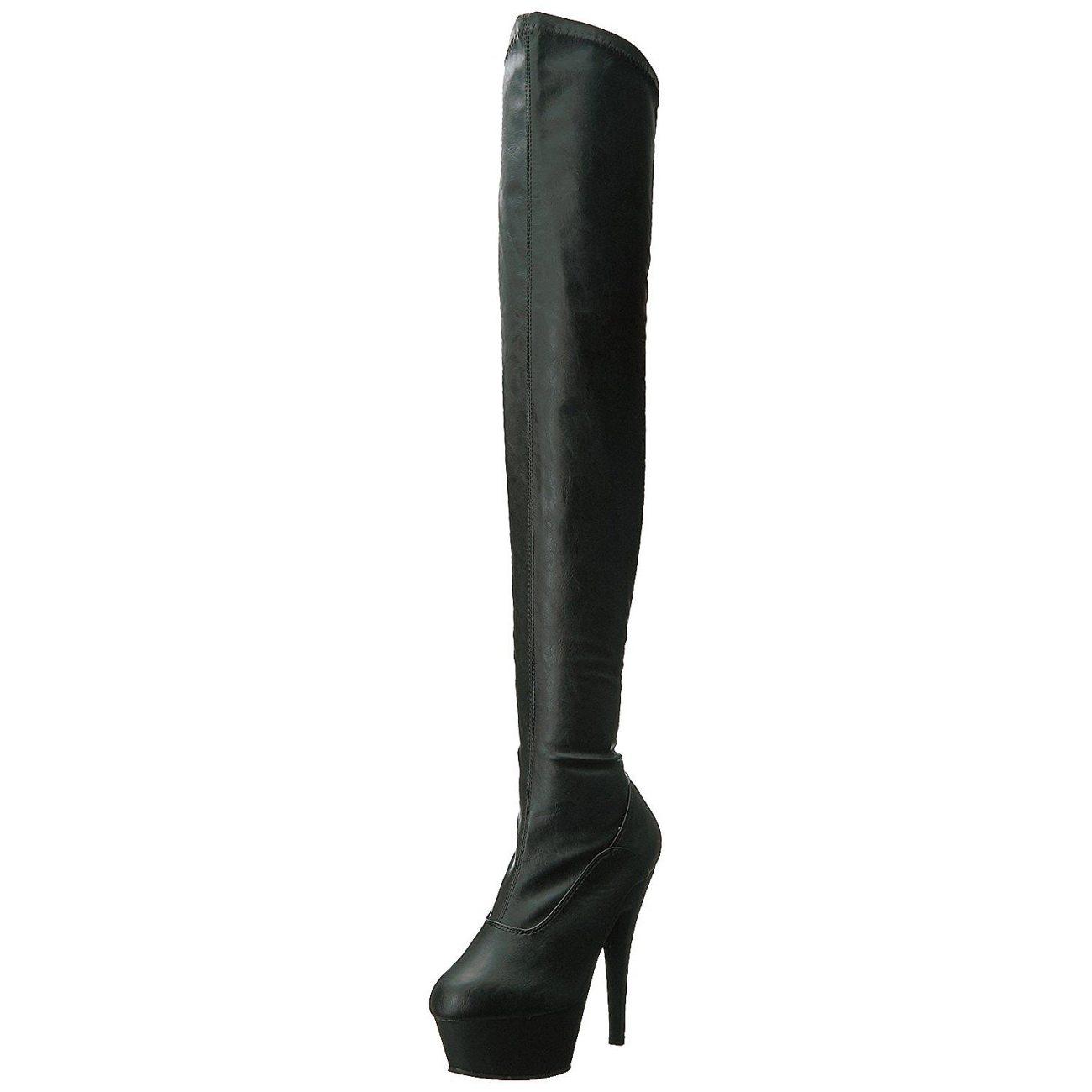 svart kunstlær 15 cm KISS 3000 lårhøye støvletter med høy hæl