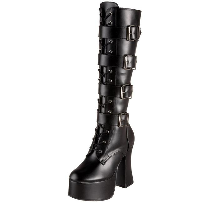 svart matt 12 cm SLUSH 225 gothic støvler dame platå