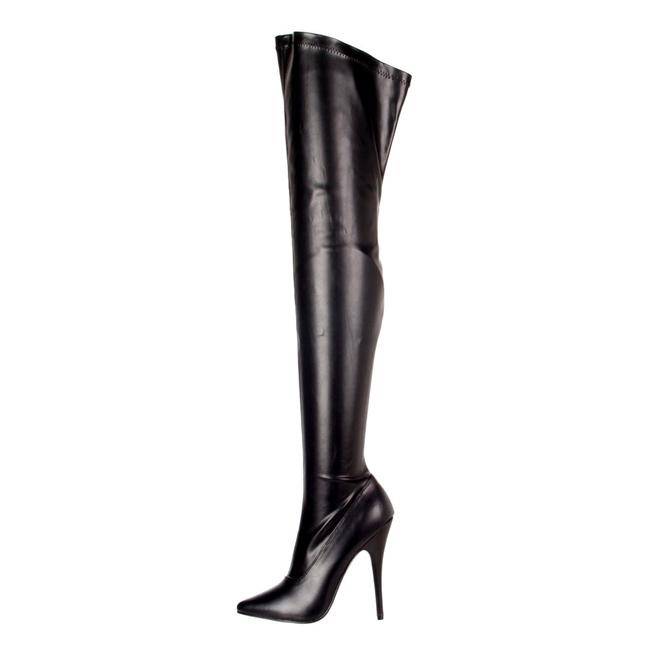 svart matt 15 cm DOMINA 3000 lårhøye støvler