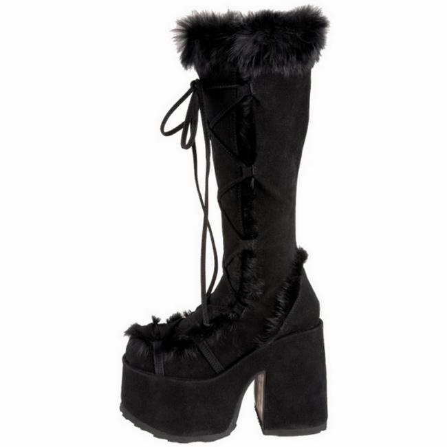 svart pels 13 cm CAMEL 311 gothic støvler dame platå