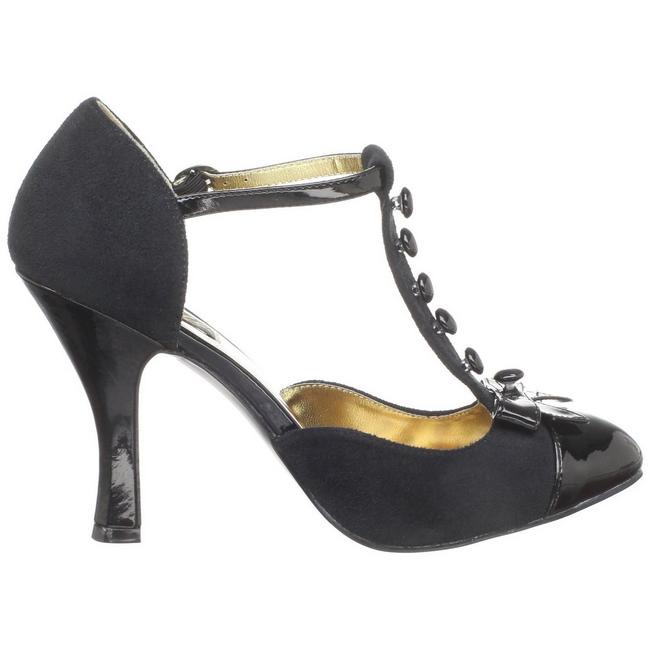 svart semsket 10 cm SMITTEN 10 Rockabilly dame pumps med lave hæl