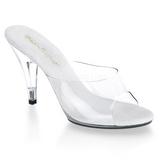 hvit gjennomsiktig 11 cm CARESS-401 høyhælte slipper sko