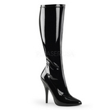 Black Shiny 13 cm SEDUCE-2000 High Heeled Womens Boots for Men