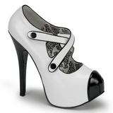 svart hvit 14,5 cm Burlesque TEEZE-23 høye damesko med høy hæl