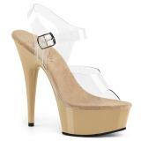 Beige 15 cm Pleaser DELIGHT-608 høye hæler damer sko