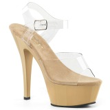 Beige 18 cm Pleaser KISS-208 Platform High Heels Shoes