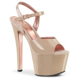 Beige 18 cm SKY-309TT pleaser sandals with gold soles