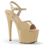 Beige Lakk 18 cm ADORE-709 platå høye hæler sko