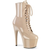Beige Leatherette 18 cm ADORE-1020 lace up ankle boots
