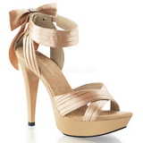 Beige Satin 13 cm COCKTAIL-568 High Heeled Sandal Shoes