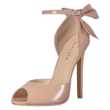 Beige Shiny 13 cm SEXY-16 Low Heeled Classic Pumps Shoes