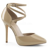Beige Varnish 13 cm AMUSE-25 High Heeled Evening Pumps Shoes