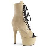 Beige faux suede 18 cm ADORE-1021FS Pole dancing ankle boots