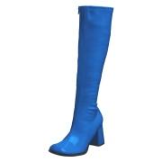Blå lakkstøvler blokkhæl 7,5 cm - 70 tallet støvler hippie disco gogo - knehøye boots