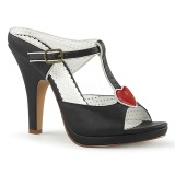 Black 10 cm retro vintage SIREN-09 Women Mules Shoes