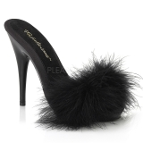 Black 13 cm POISE-501F Marabou Feathers Mules Shoes