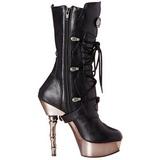 Black 14 cm MUERTO-1026 Chrome Platform Ankle Calf Boots