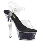 Black 15 cm KISS-208GF glitter platform sandals shoes