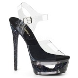 Black 16,5 cm ECLIPSE-608GT High Heeled Stiletto Sandals