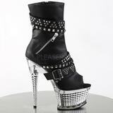 Black 16,5 cm ILLUSION-1015 Chrome Platform Ankle Calf Boots