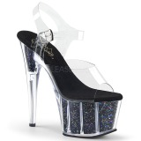 Black 18 cm ADORE-708CG glitter platform high heels shoes