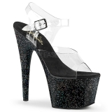 Black 18 cm ADORE-708MG glitter platform high heels shoes