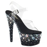 Black 18 cm ADORE-708ROSE rhinestone platform high heels