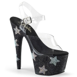 Black 18 cm ADORE-708STAR High Heeled Sandal Rhinestone Platform