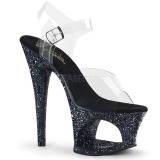 Black 18 cm MOON-708LG glitter platform high heels shoes