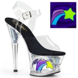 Black 18 cm MOON-708RSS Neon platform high heels shoes