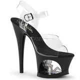 Black 18 cm MOON-708TG Platform High Heels Shoes