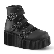 Black 7,5 cm CREEPER-260 creepers boots women - rockabilly boots with buckle