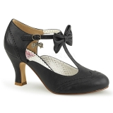 Black 7,5 cm retro vintage FLAPPER-11 Pinup Pumps Shoes with Low Heels