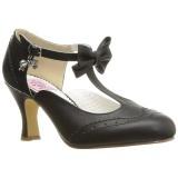 Black 7,5 cm retro vintage FLAPPER-11 Pinup Pumps Shoes with Low Heels