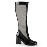 Black 8,5 cm GOGO-307 Mesh womens boots with high heels