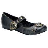 Black DAISY-09 gothic mary jane ballerina shoes flat heels