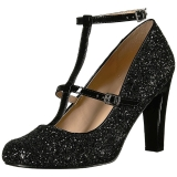 Black Glitter 10 cm QUEEN-01 big size pumps shoes