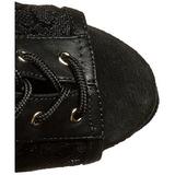 Black Lace Fabric 20 cm FLAMINGO-896LC Lace Up Ankle Calf Women Boots