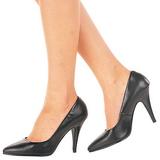 Black Leather 10 cm VANITY-420 Women Pumps Shoes Flat Heels