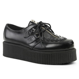 Black Leather 5 cm CREEPER-440 Platform Mens Creepers Shoes